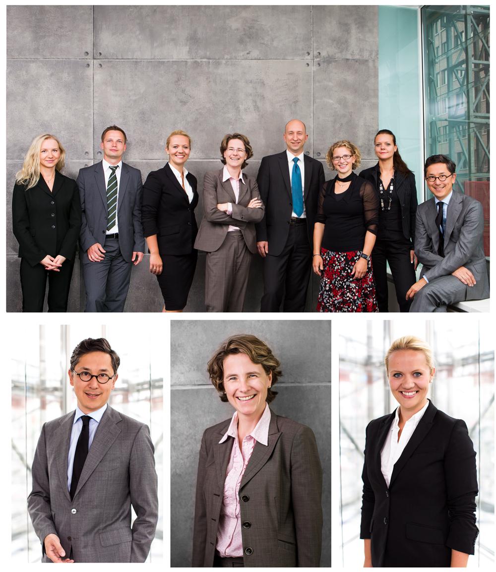 Business Photography Teamfoto und einzelne Mitarbeiterportraits im Unternehmen