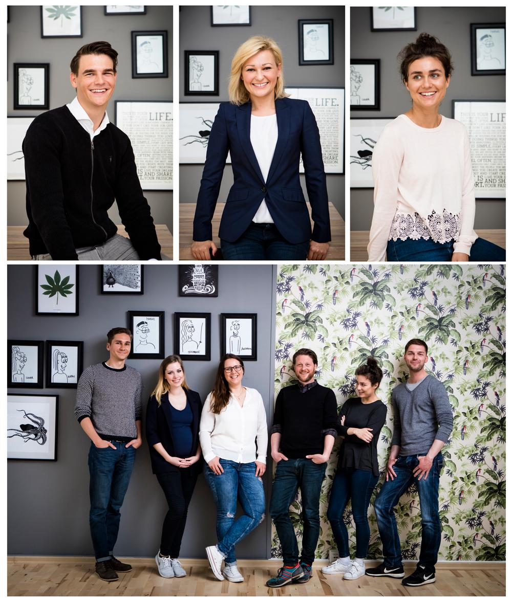 Businessportraits und Mitarbeiterportraits im Team und Einzelportraits im Unternehmen